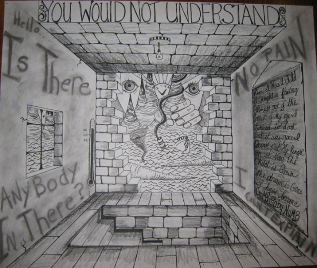 A drawing from high school about Pink Floyd's Comfortably Numb.  You would not understand really resonated with me.