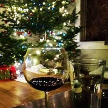 wine Glass and christmas tree