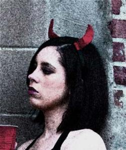 Victoria Sawyer with horns
