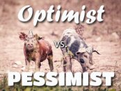 Optimist versus pessimist. Picture of 2 pigs in party hats