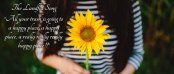 Landfill Song: All your trash is going to a happy happy happy place! Photo of girl with sunflower